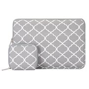 Mosiso Laptop Sleeve Bag for 11-11.6 Inch MacBook Air, Ultrabook Netbook Tablet with Small Case, Quatrefoil Style Canvas Fabric Carrying Cover,