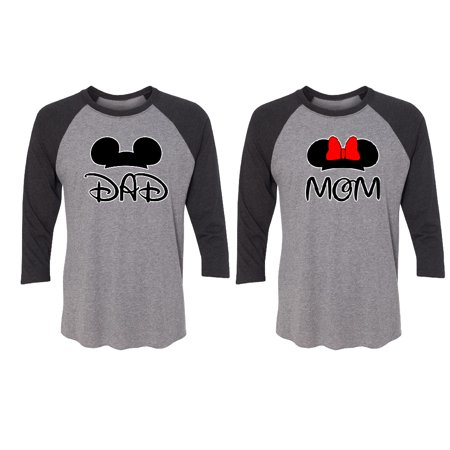 Cartoon Dad - Mom Couple Matching 3/4 Raglan Tee Valentines Anniversary Christmas Gift Men Small Women Small - Cartoon Character Couples