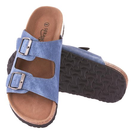 Seranoma Cork Sandals For Women: Casual Slide Summer For Spring And Summer, Comfortable Cushioning, 2 Individual Straps With Adjustable Buckles, Platform Wedge Sole, Easy Slip On - Girls Birkenstock
