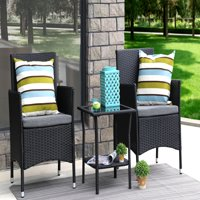 Baner Garden Outdoor Furniture Complete Patio Cushion PE Wicker Rattan Garden Dining Set, Black, 3-Pieces
