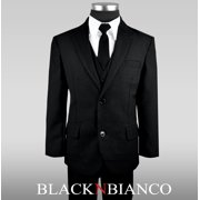 743028afdcd9 Black N Bianco Boys Solid Suit and Tie Formal Outift