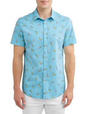 George Young Men's Short Sleeve Printed Shirt, up to Size 3XL