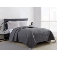 Mainstays Emma Solid Basketweave Quilt Collection, Quilt, King, Gray