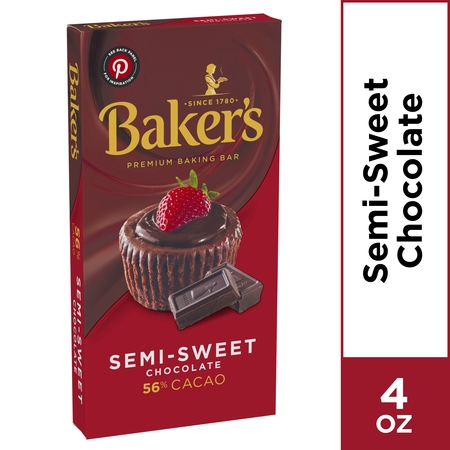 Baker's Premium Baking Chocolate Bar, Semi-Sweet 56% Cacao, 4 oz Box (Semi Sweet Baking Bar)