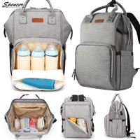 Spencer Waterproof Baby Diaper Backpack Large Capacity Travel Mummy Nappy Bags Nursing Bag with USB Charging Port (Gray)
