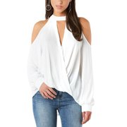 5a5288c399d40 DYMADE Women s Chiffon Cold Shoulde Long Sleeve Blouse Shirts Halter Neck  Casual Top