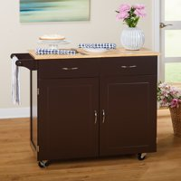 TMS Large Kitchen Cart with Rubberwood Top, Espresso