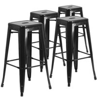 "Flash Furniture 30"" High Backless Metal Indoor-Outdoor Bar Stool with Square Seat, 4 Pack, Black"