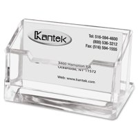 Kantek Clear Acrylic Business Card Holder, Fits 80 Business Cards, 4 X 1-7/8 X 2 inches