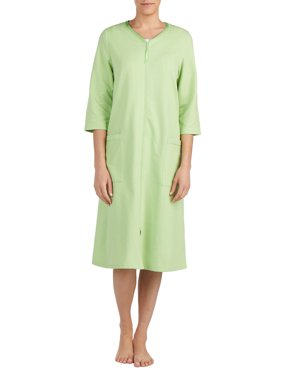 Women's and Women's Plus-Size Traditional 3/4-Sleeve Zip-Front Robe