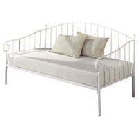 Emele Twin Size White Metal Day Bed Frame With Headboard, Footboard, Rails & Slats (Twin Daybed)