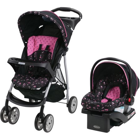 Graco LiteRider Click Connect Travel System Stroller, with SnugRide Click Connect 22 Infant Car Seat, Priscilla