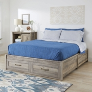 Better Homes & Gardens Modern Farmhouse Queen Platform Bed with Storage, Rustic Gray Finish
