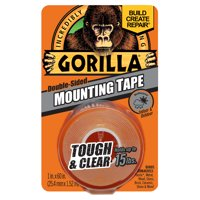 """Gorilla Mounting Tape, 1"""" x 60"""", Clear"""