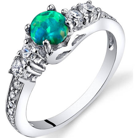 0.50 Carat T.G.W. Created Green Opal Engagement Ring in Rhodium-Plated Sterling Silver - Glow In The Dark Engagement Ring