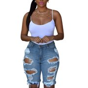 c6be26a33539 Casual Womens High Waist Jeans Ripped Large Hole Washed Distressed Denim  Shorts Outdress Jeans