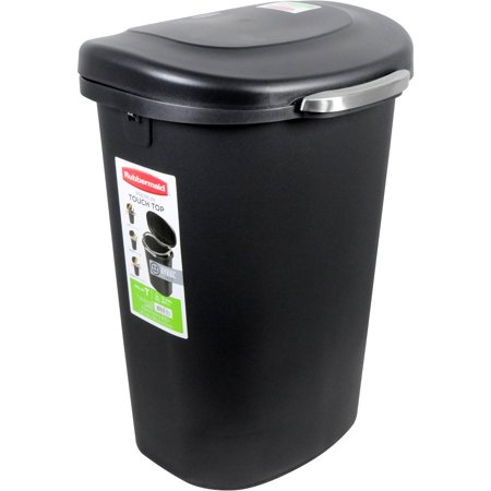 Waste Oil Storage (Rubbermaid 13-Gallon Premium Touch Top Waste Bin, Black )