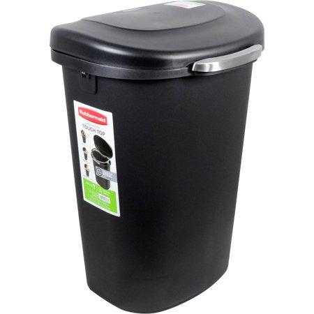Rubbermaid 13-Gallon Premium Touch Top Waste Bin, Black