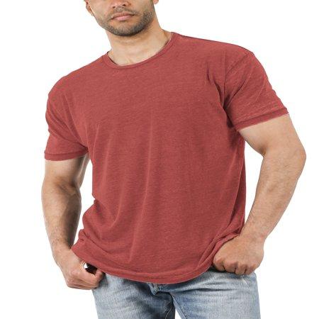 Men's Casual Crewneck Tee Soft Faded Vintage Burnout T Shirt