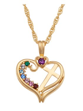 """Family Jewelry Personalized Mother's Sterling Silver or 14K Gold Over Sterling Silver Birthstone Heart Cross Necklace, 20"""""""
