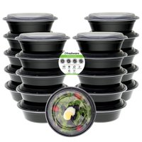 Freshware 21-Pack Round Bento Lunch Boxes with Lids - Stackable Reusable Microwave Dishwasher & Freezer Safe - Meal Prep Portion Control 21 Day Fix & Food Storage Containers (28oz), YH-NB28X21