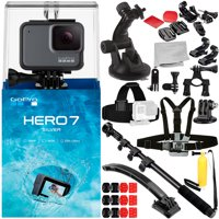 GoPro HERO7 HERO 7 Silver 13PC Accessory Bundle - Includes Head & Chest Strap for GoPro + Helmet Arm Extension + Suction Cup with Tripod Adapter + MORE