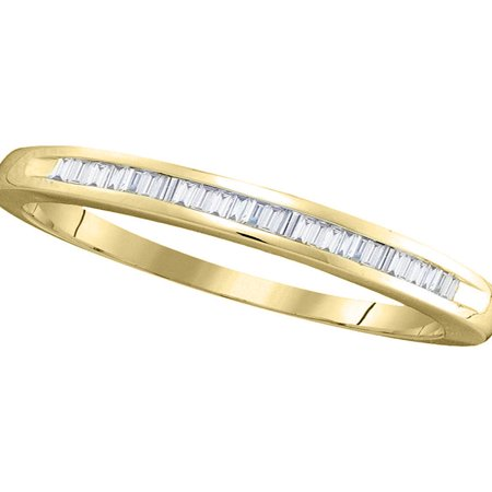 Baguette Diamond Eternity Wedding Band - 14kt Yellow Gold Womens Baguette Diamond Wedding Band Ring 1/4 Cttw Diamond Fine Jewelry Ideal Gifts For Women Gift Set From Heart