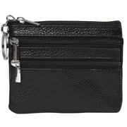 HDE Womens Leather Small Coin Purse Zipper Change Wallet Mini Pouch w/Key Ring (