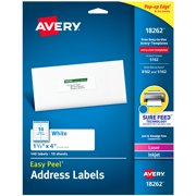 """Avery Easy Peel Address Labels, Sure Feed Technology, Permanent Adhesive, 1-1/3"""" x 4"""", 140 Labels (18262)"""