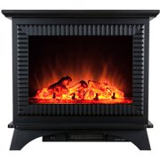 """AKDY FP0031 27"""" 1500W Freestanding Electric Fireplace Stove Heater with Tempered Glass, Realistic Flame and Logs, Black"""