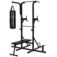 Deals on Soozier Home Gym Power Tower with Bench and Punching Bag