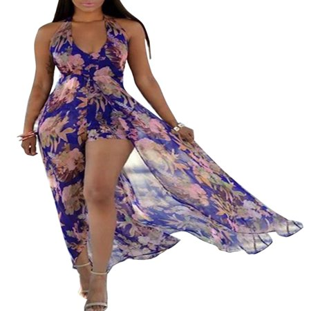 Dress Jumpsuit - Women Sleeveless Halter V Neck Summer Party Romper Dress Floral Print Long Split Maxi Playsuit Jumpsuit Beach Sunress