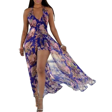 Women Sleeveless Halter V Neck Summer Party Romper Dress Floral Print Long Split Maxi Playsuit Jumpsuit Beach Sunress
