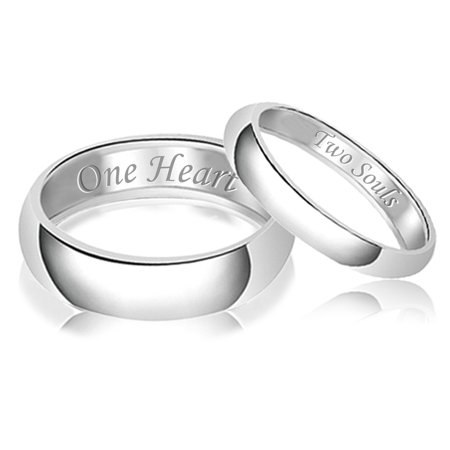 Hem Band (His & Her Engraved Two Souls One Heart Classic Sterling Silver Plain Wedding Band)