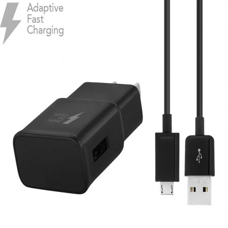 OEM Adaptive Fast Charger For Motorola Droid Turbo 2 Cell Phones [Wall Charger + 5 FT Micro USB Cable] - True Digital Adaptive Fast Charging - Black