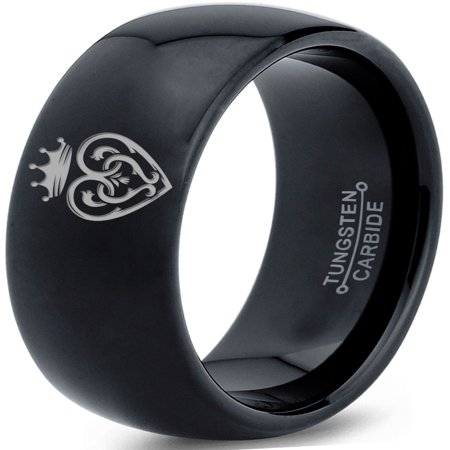 Tungsten Vintage Heart Crown Band Ring 8mm Men Women Comfort Fit Black Dome -