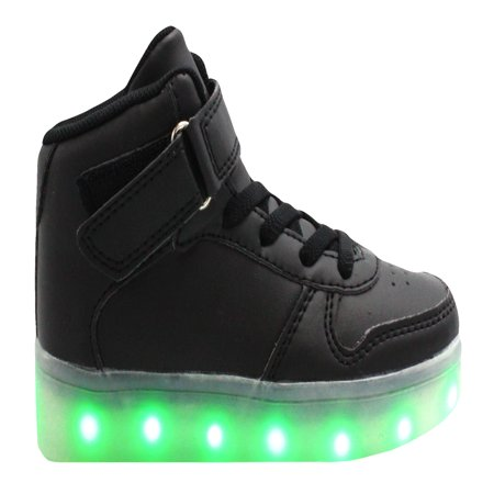Galaxy LED Shoes Light Up USB Charging High Top Kids Sneakers (Black)](Spiderman Shoes With Lights)