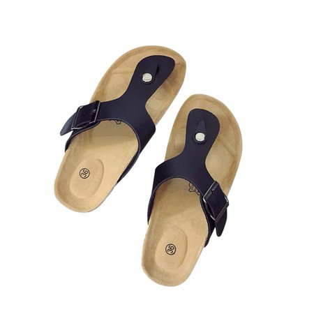 Phoebecat Sandals for Women, Women's Thong Flip Flop Flat Casual Cork Sandals for Ladies, Black Summer Beach Soft Adjustable Buckle Flat Open Toe Slide Shoe for Girls,US-9 Close Back Thong Sandal
