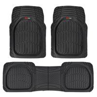 Motor Trend FlexTough 3D Car Rubber Floor Mats - Deep Dish Heavy Duty Rubber for Car SUV Truck & Van - All Weather Protection (Black)