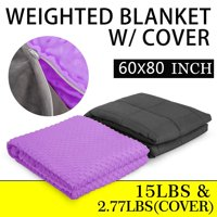 BestEquip Weighted Blanket with Removable Minky Cover Gravity Blanket for Calm, De-Stress, Improve Sleep, Reduce Anxiety Great Sleep Therapy Weighted Blanket