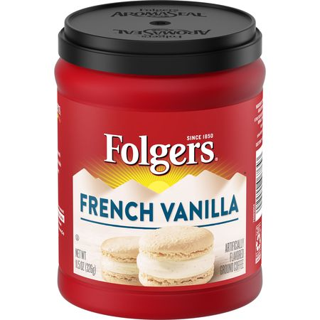 Folgers French Vanilla Artificially Flavored Ground Coffee, 11.5-Ounce - New Orleans French Coffee