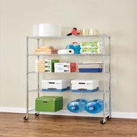 """HSS 18""""Dx48""""Wx75""""H, 5 Tier Wire Shelving Rack with Casters, Chrome"""