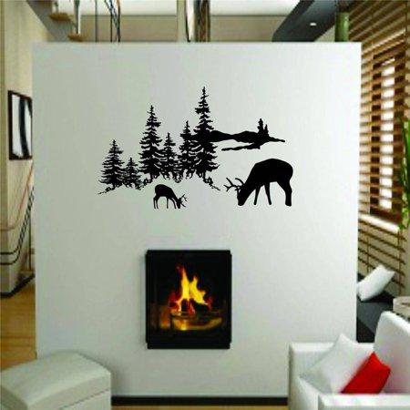 Custom Wall Decal Outdoor Tree Scene With Deer Buck Graphic Designs - Living Room - Sticker - Vinyl Wall - 8x16