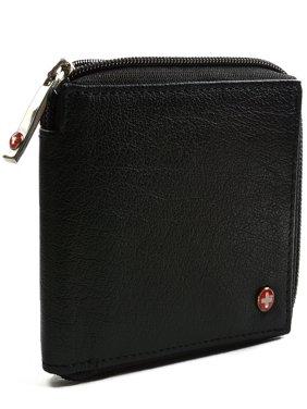Men's Leather Zip Around Wallet ID Card Window Secure Zipper Bifold