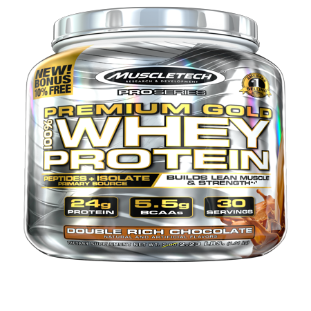 Premium Gold 100% Whey Protein Powder, Ultra Fast Absorbing Whey Peptides & Whey Protein Isolate, Double Rich Chocolate, 30 Servings (2.23lbs)