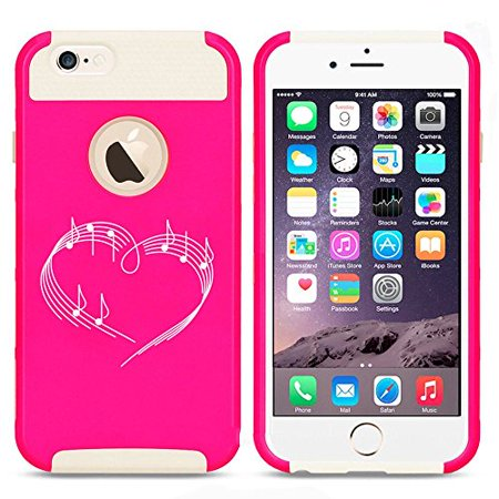 Apple iPhone 5 5s Shockproof Impact Hard Case Cover Heart Love Music Notes (Hot Pink-White),MIP - Music Note Hat