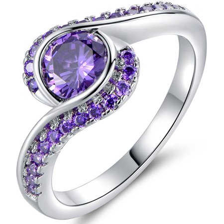 Purple CZ 18kt White Gold Bypass Ring