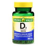 (2 Pack) Spring Valley Vitamin D3 Softgels, 400 IU, 200 Ct