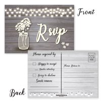 Rustic RSVP Reply Postcards - 50 RSVP Postcards - 4 x 6 Wedding Reply Cards