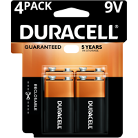 Duracell Coppertop Alkaline Long Lasting 9V Batteries, 4 Pack